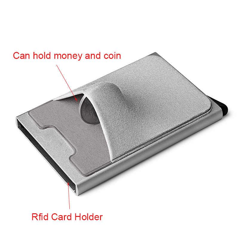 DIENQI Rfid Умный кошелек держатель для кредитных карт металлический тонкий мужской кошелек пройти секретный всплывающий минималистичный кошелек маленький черный кошелек