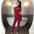 2017 Elegant Rompers Womens Fashion High Neck Bodysuits Hollow Caged Sleeve Playsuits Long Pants Sexy Club Jumpsuits Plus Size