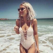 2019 Sexy One Piece Swimsuit Women Swimwear Female Stripe Beachwear Bandage M48