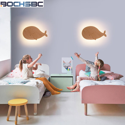 Children Cartoon Wall Lamps Bedside Light Simple Bedroom Wood Led Stairs Wall Sconce Whale For Living Room