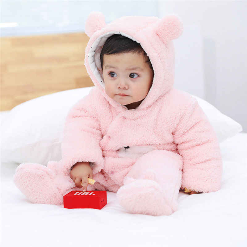 d2d6b71c65d ... Infant Baby Rompers Girls Boys Clothing Long Sleeve Fluffy Hooded Jumpsuit  Romper 2018 Winter Keep Thick ...
