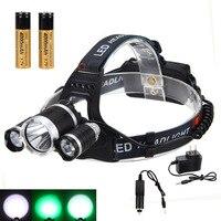 Luminosité lampe de Poche Extérieure 9000LM 3x XML T6 + 2x VERT LED Head Phare de Phare 2X18650 + CH