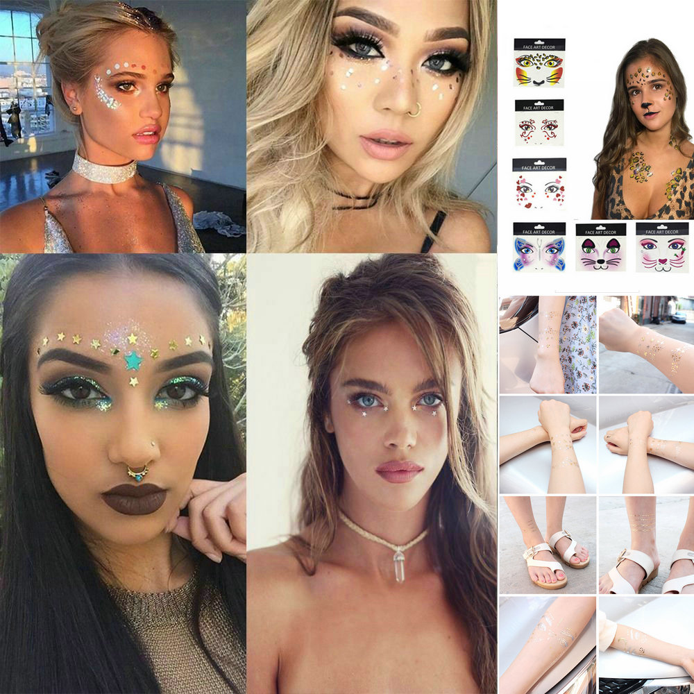 2019 New Gold Face Temporary Tattoo Waterproof Blocked Freckles Makeup Stickers Eye Decal Wholesale 3