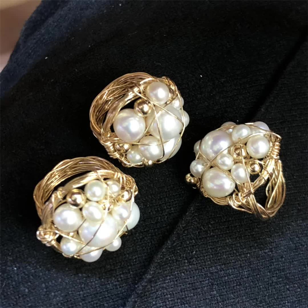 gemstone fine jewelry factory wholesale ethnic natural white pearl special cluster ring for women 1