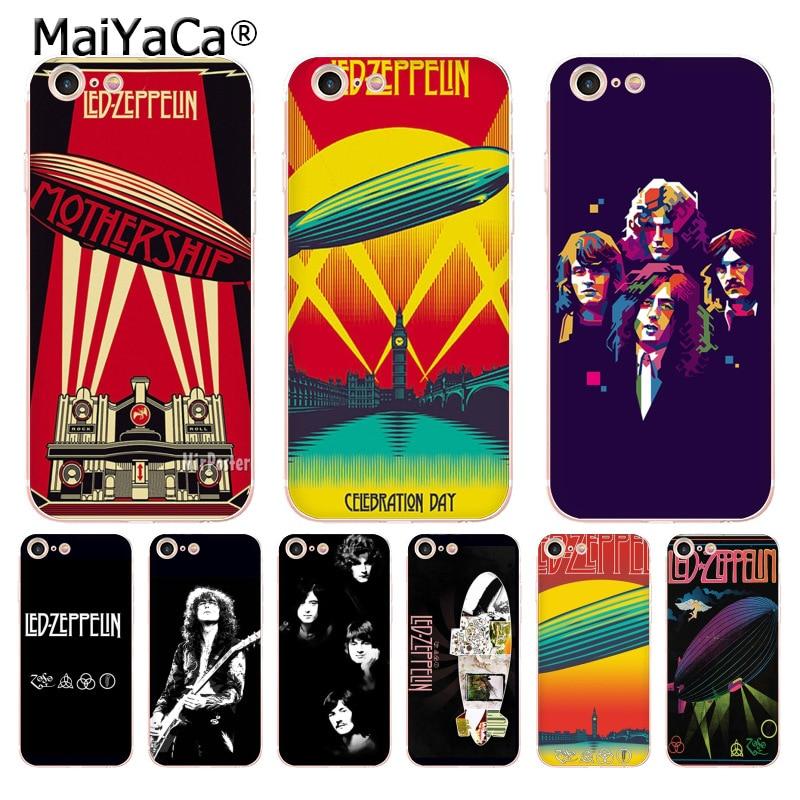 MaiYaCa Led Zeppelin Хит продаж дизайн моды кожа тонкий ТПУ cell чехол для iPhone 8 7 6 6 S Plus X 5 5S SE 5C чехол