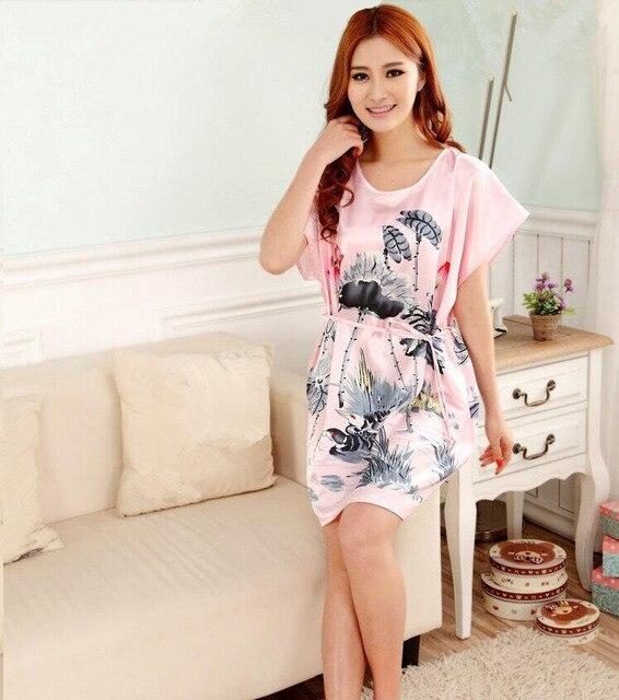 Плюс Размер женщин Искусственного Шелковый Халат Ванна Платье Ночная Рубашка Светло-Голубой Сексуальный Лето Трусы Новый Стиль Пижамы