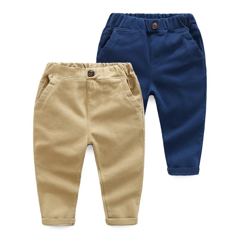 Boy Pants 2019 Kids Spring Autumn Clothes Children Trousers For Baby Boys Pants Blue  Khaqi Woven Solid Green