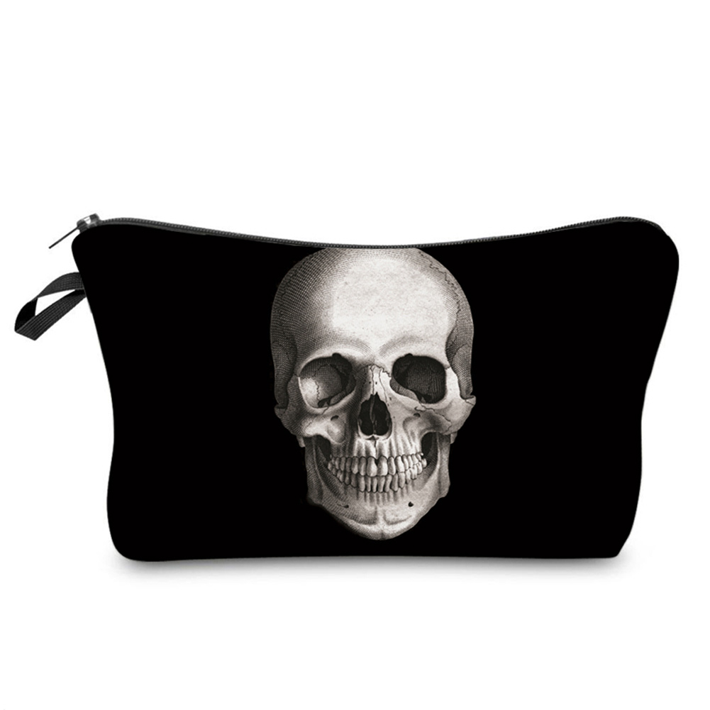 Cool Zipped Skeleton Skull Printing Makeup Organizer Storage Bags Fashion Men Women Travel Cosmetic Bag Travel Beauty Organizer