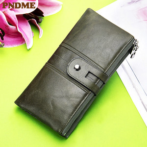 Vintage leather wallet long men's and women's handbag multi-function wallet
