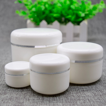 100pcs/lot 250G Empty Plastic white  Jar with silver ling