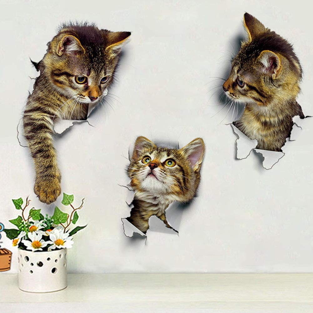 1/Pc DIY 3D Vivid Cats Toilet Switch Stickers Cartoon Switch Protected Wall Stickers Vinyl Decal Home Decorative Poster Mural