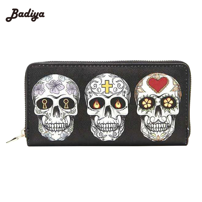 Skull Expression Printing Women Wallet Zipper Design Clutch Purse For Woman PU Leather Ladies Phone Holder Card Holder