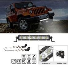 Светодиодный Однорядный тонкий прямой светильник Luces, 8 дюймов, 18 Вт, 6, светодиодный светильник Jeep UTV 4x4