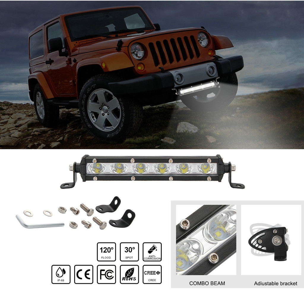 Image 1 - Luces Led Para Auto Single Row Slim LED Straight Light Bar 8 Inch 18W 6LED Jeep UTV 4x4 Boat Truck LED Lamps For Cars-in Light Bar/Work Light from Automobiles & Motorcycles