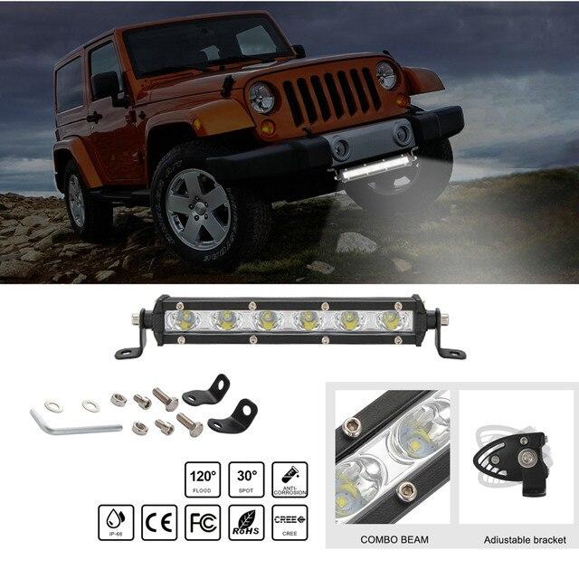 Luces Led Para Auto simple rangée mince LED barre lumineuse droite 8 pouces 18W 6LED Jeep UTV 4x4 bateau camion lampes LED pour les voitures