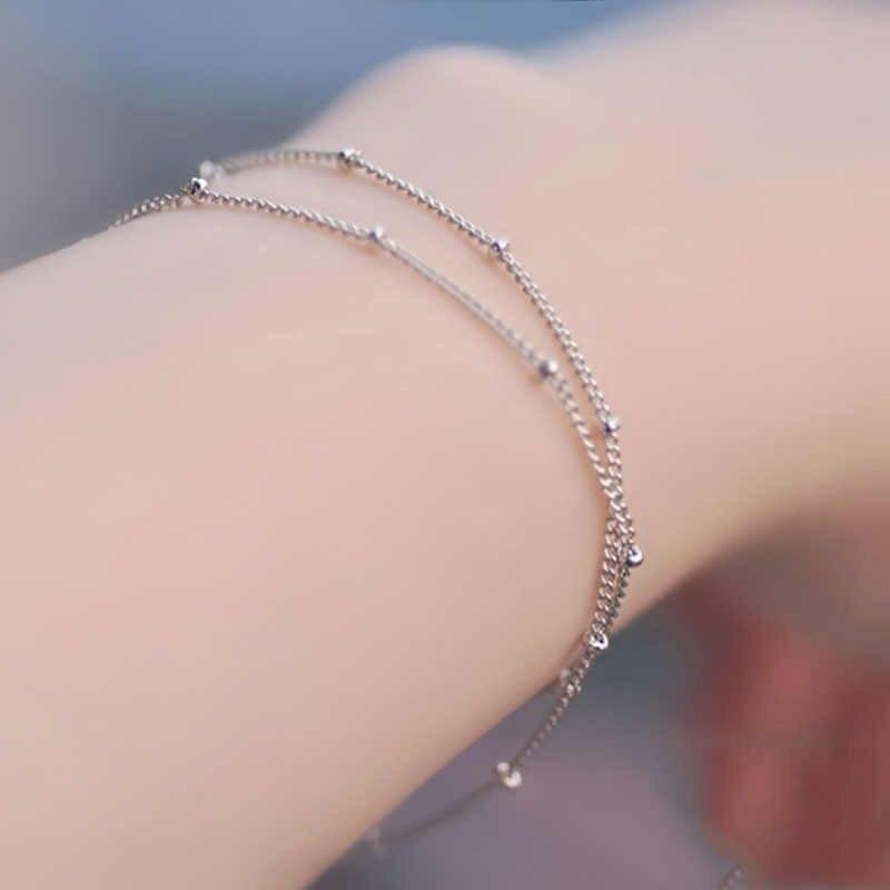 Satellite chain ouro alergia livre pulseiras ajustável contas de cobre prateado dupla camada casamento requintado 1 pc novo