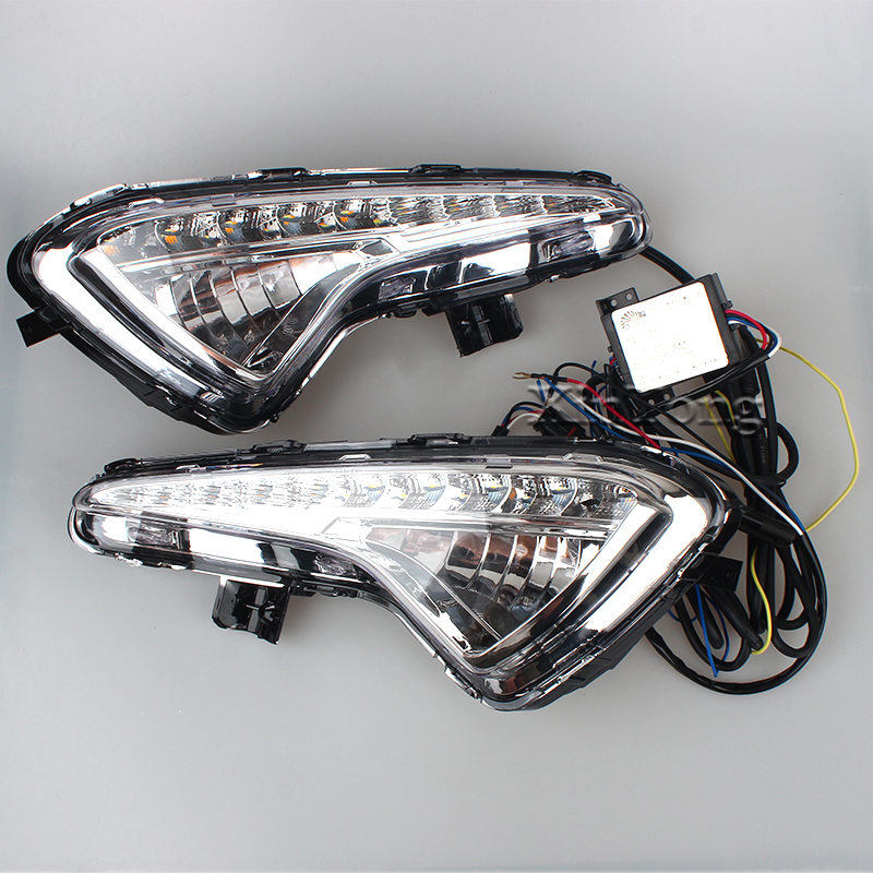 2PCS 12V LED Super Bright White LED Daytime Running Lights Fog Lamp Covers For HYUNDAI Verna 2014 Car Stylish Waterproof DRL чайник dekok со свистком 3 л