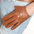 Oferta especial Estilo Curto Luvas de pele de Cabra Dos Homens de Pulso Elástico de Couro Genuíno Moda Pele De Carneiro Luva De Condução Limitada Em004pn