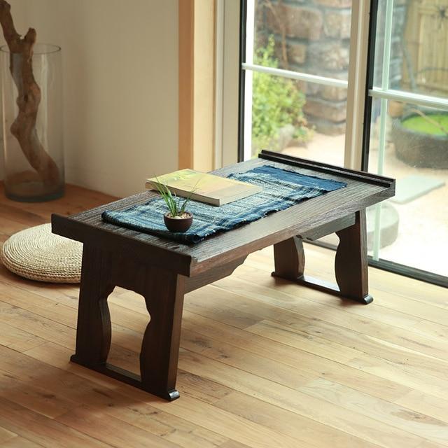 Japanese Antique Tea Table Folding Legs Rectangle 60cm Paulownia Wood  Traditional CHABUDAI Asian Furniture Living Room