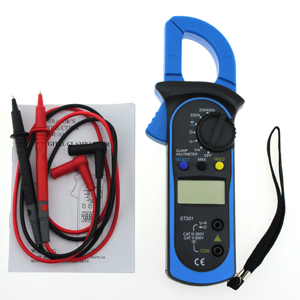 New ST-201 Digital Multimeter Auto Range Clamp Tester Meter DMM AC DC <font><b>Volt</b></font> Ohm Frequency Clamp MultiMeter Best Accuracy P20 image