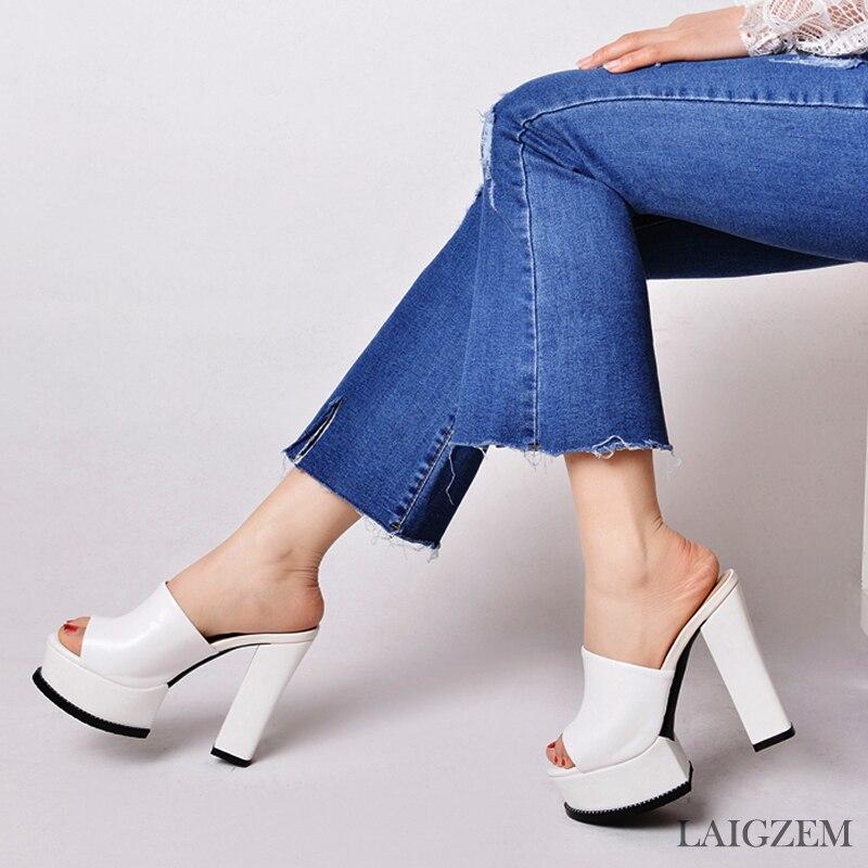 LAIGZEM Women Heels Slip On Waterproof Real Leather Chunky Heel Pumps Mules Slingback PARTY Shoes Woman Feminino Big Size 33-42 (2)