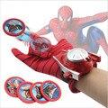 4 Tipos de PVC 24 cm Figura de Acción de Spiderman Batman Guante Lanzador de Juguete Niños Adecuado Spider Man Capitán América Cosplay vienen