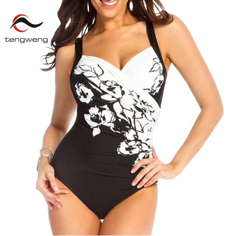 Tengweng 2018 Femmes Sexy Rétro Noir Imprimer Push Up Tankini Maillot De Bain Une Pièce Maillot de Bain Femme Maillot de bain Plus La Taille Monokini