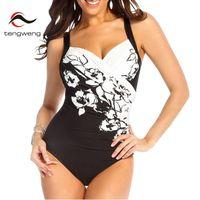 Tengweng 2018 Women Sexy Retro Black Print Push Up Tankini Swimwear   One     Piece   Swimsuit Female Bathing   Suit   Plus Size Monokini