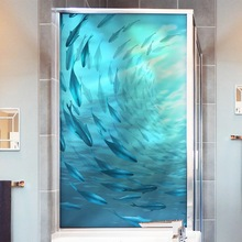 Ocean Fish Privacy Window Film Glass Sticker bathroom Static Frosted opaque Stained Glue-free Kids room Custom Home Decorative