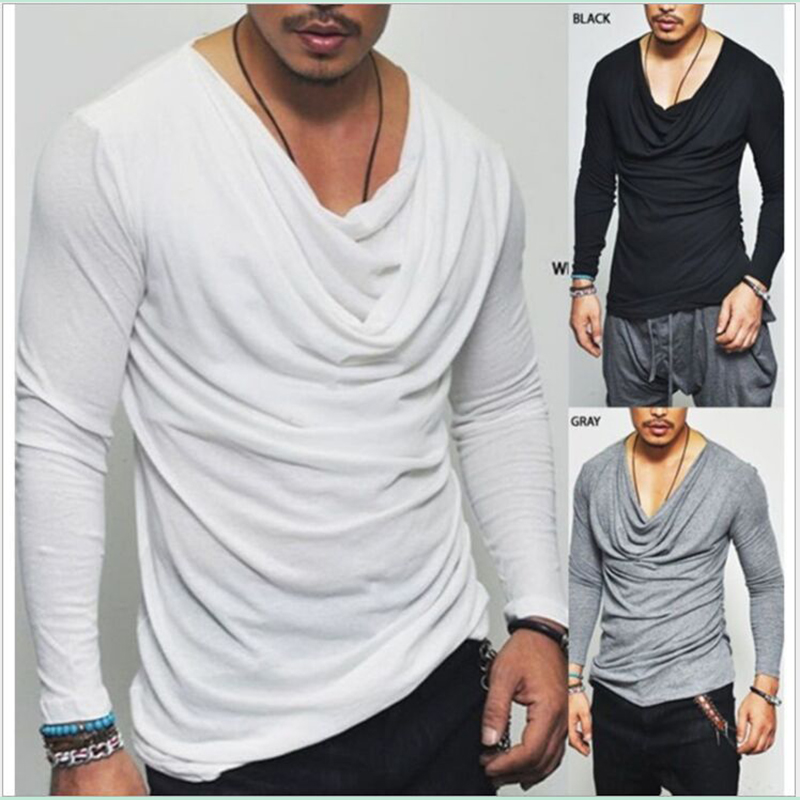 Men long sleeve t shirt Drooping cowl neck loose men t-shirt hip hop streetwear funny t shirts
