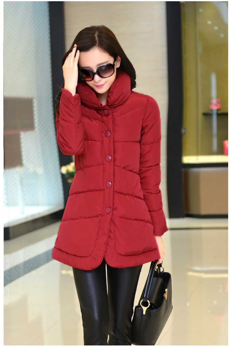 Winter Jacket 2015 Solid Long-Sleeve Stand Collar Women Coat Down Cotton Slim Zipper Jackets Women Clothing Plus Size H4694 жакет oodji oodji oo001ewiww25