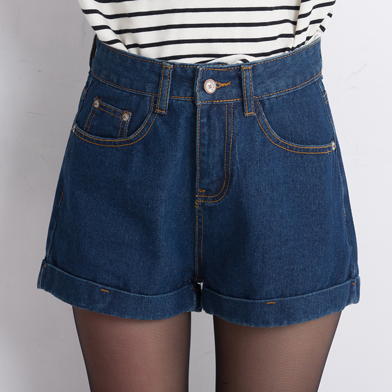 2016 spring new loose wide leg high waist denim shorts female summer big yards thin curling Fashion shorts Jeans Women S2074