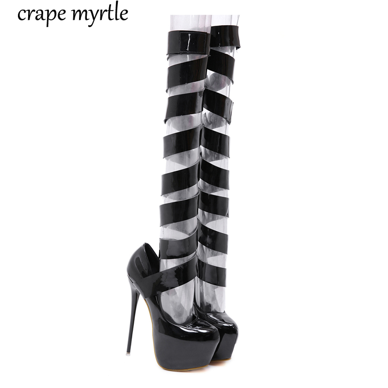 ankle strap heels 16CM sexy High Heels shoes Pumps women Party Shoes for Women Platform ladies black  YMA404