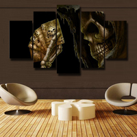 5P Art Wall Modern Canvas Print Oil Paintings Print HD Poster Picture Home Decoration Theme Skull