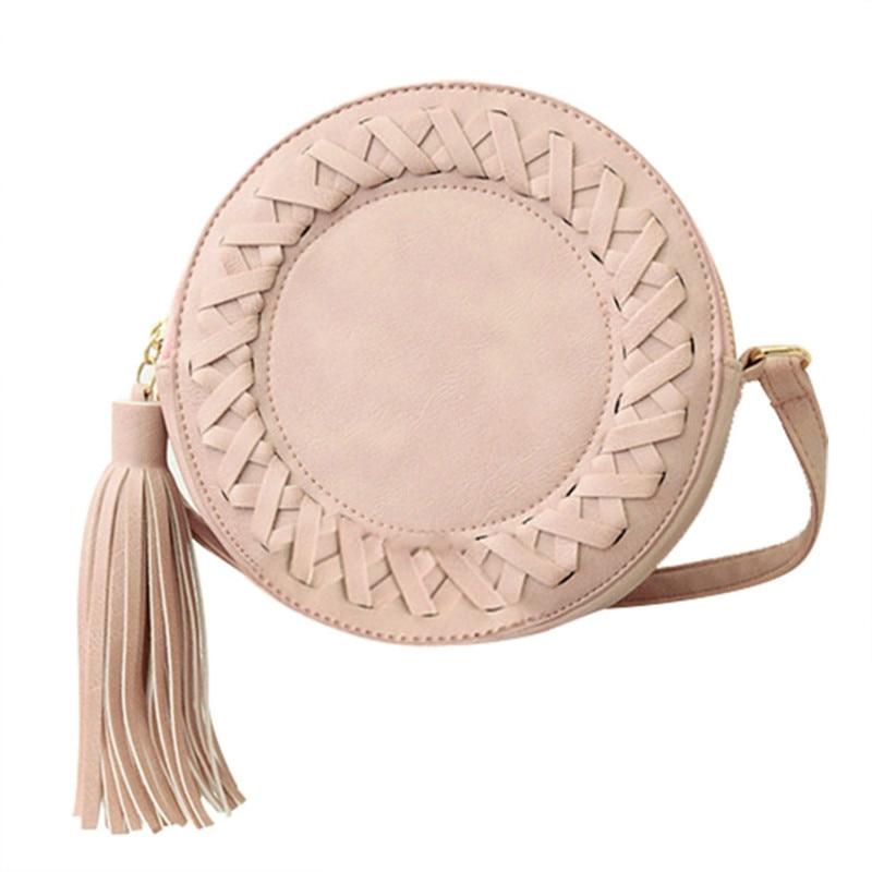 Round Tassel Bag Woven Crossbody Bags For Womens Shoulder Bag Ladies Cute Knitting Circular Messenger Bag