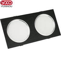 Super Bright Recessed LED Dimmable 2 Head Square Downlight Driverless 10W 14W 18W 24w LED Spot