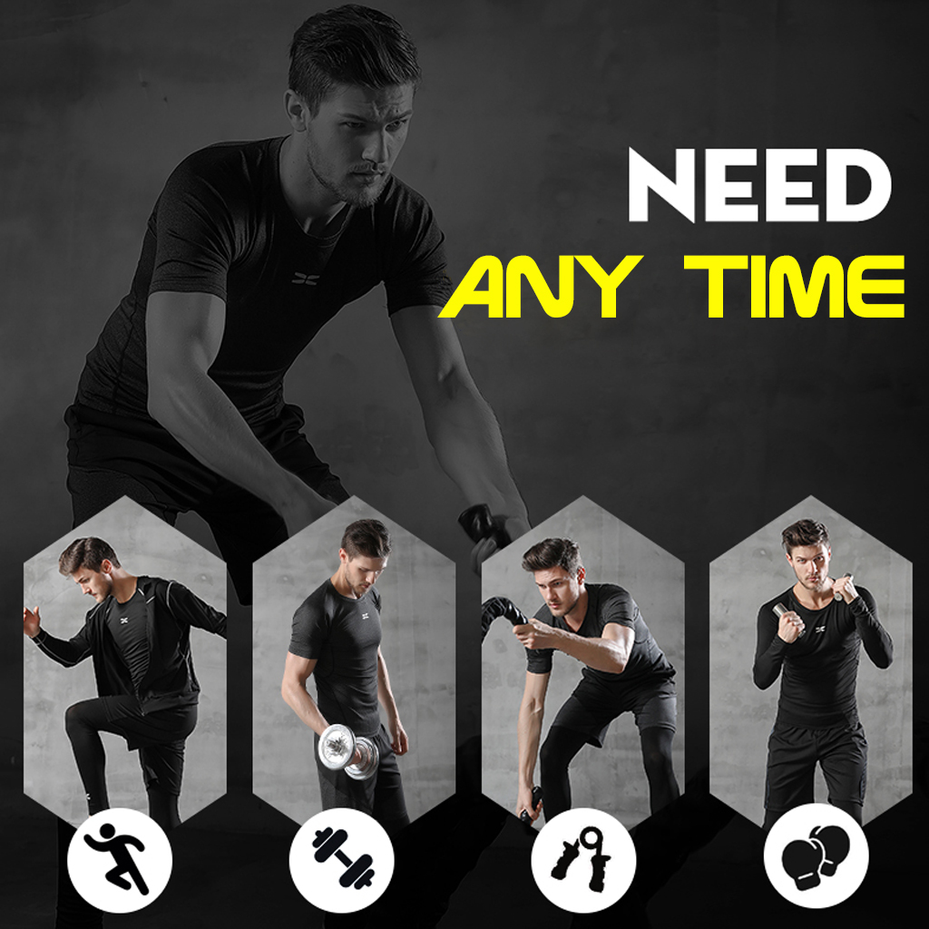 Image 2 - REXCHI 5 Pcs/Set Men's Tracksuit Gym Fitness Compression Sports Suit Clothes Running Jogging Sport Wear Exercise Workout Tights-in Running Sets from Sports & Entertainment