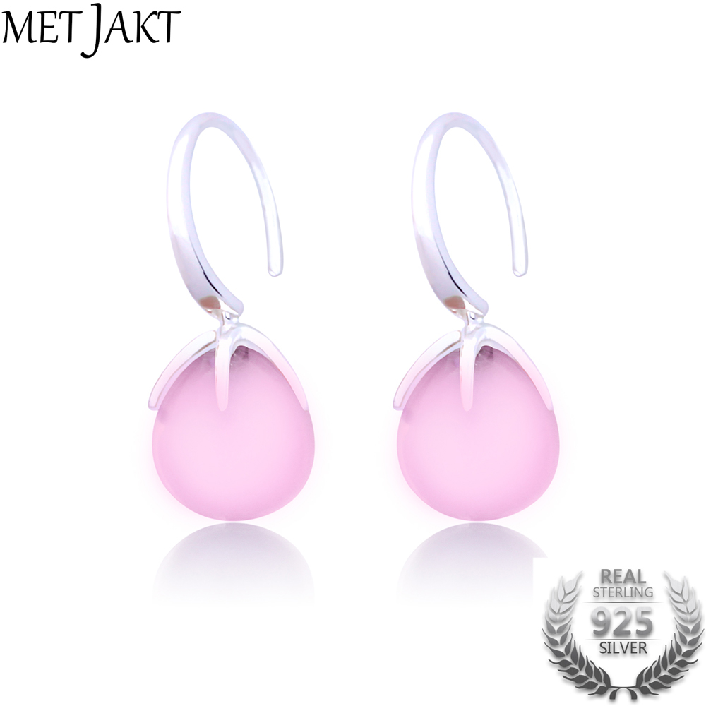 MetJakt Natural Claw Setting Water Drop Rose Quartz Earrings Solid 925 Sterling Silver Earrings for Women