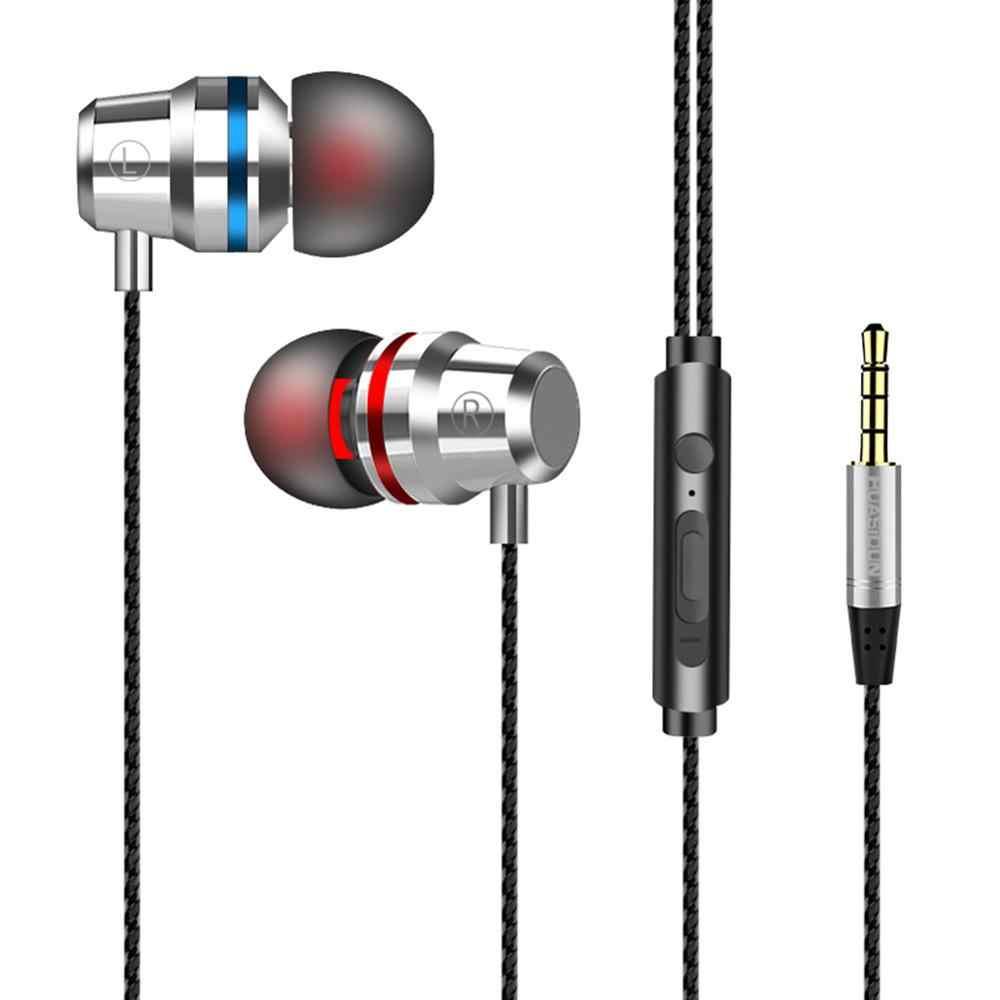 3.5mm Stereo Professionele Metalen Hoofdtelefoon In Ear Wired Oortelefoon Zware Bas Geluidskwaliteit Muziek Sport Headset Voor iPhone Xiaomi