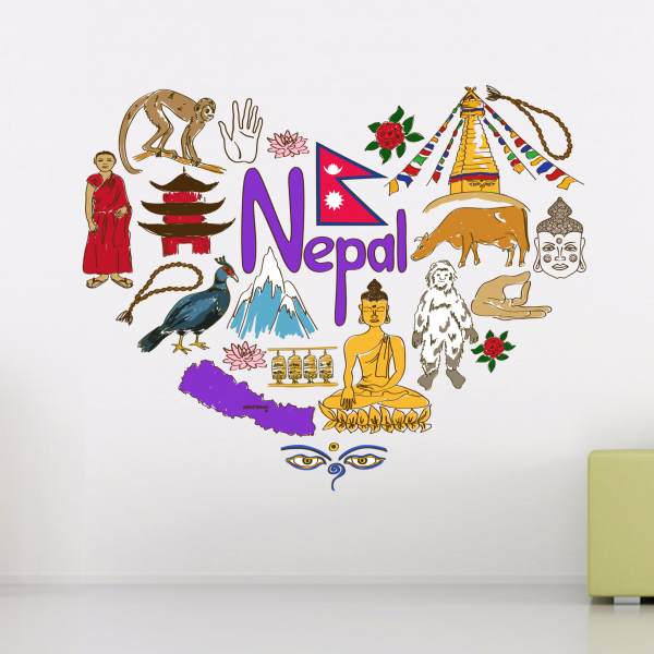 nepal illustration travel the word landmark wall sticker wedding