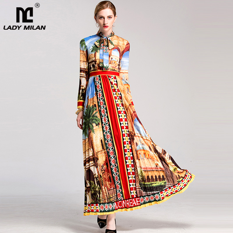 High Quality New Arrival 2018 Womens Sash Bow Collar Long Sleeves Floral Printed Pleated Fashion Designer Runway Maxi Dresses