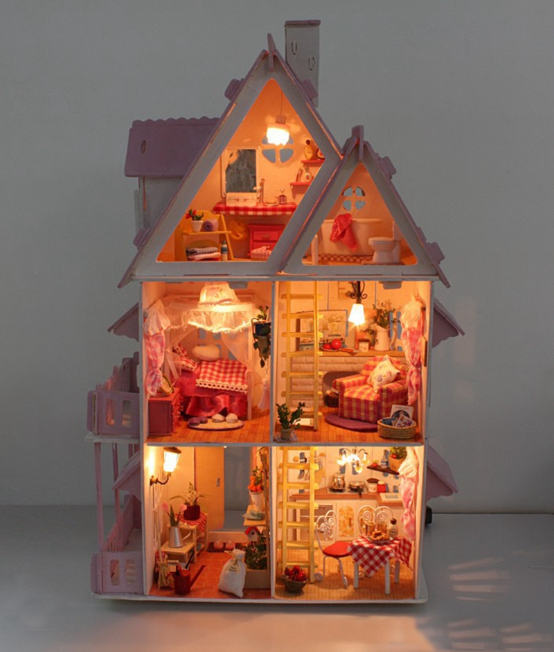 Hot Sale Sunshine Alice Pink DIY Wooden Miniatura Doll House Furniture Handmade Miniature Dollhouse Toys