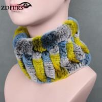 ZDFURS Women Real Fur Handmade Stretch Fur Scarf Knit Genuine Rex Rabbit Fur Headbands Girls Natural