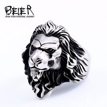 BEIER Punk Male Female Lion Heads Finger Stainles Steel Animal Rings For Men And Women Vintage Personality product BR8-676(China)