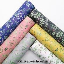 Glitterwishcome 21X29 CM A4 Tamanho Folhas de Vinil Para Arcos Flores Impressas Fabirc Couro Do Falso Couro para Arcos, GM159A