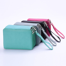 72 Holes Pencil Case PU Leather School Large Capacity Colored Pencil Bag Box Multi-functional Stationery Student Art Supplies все цены