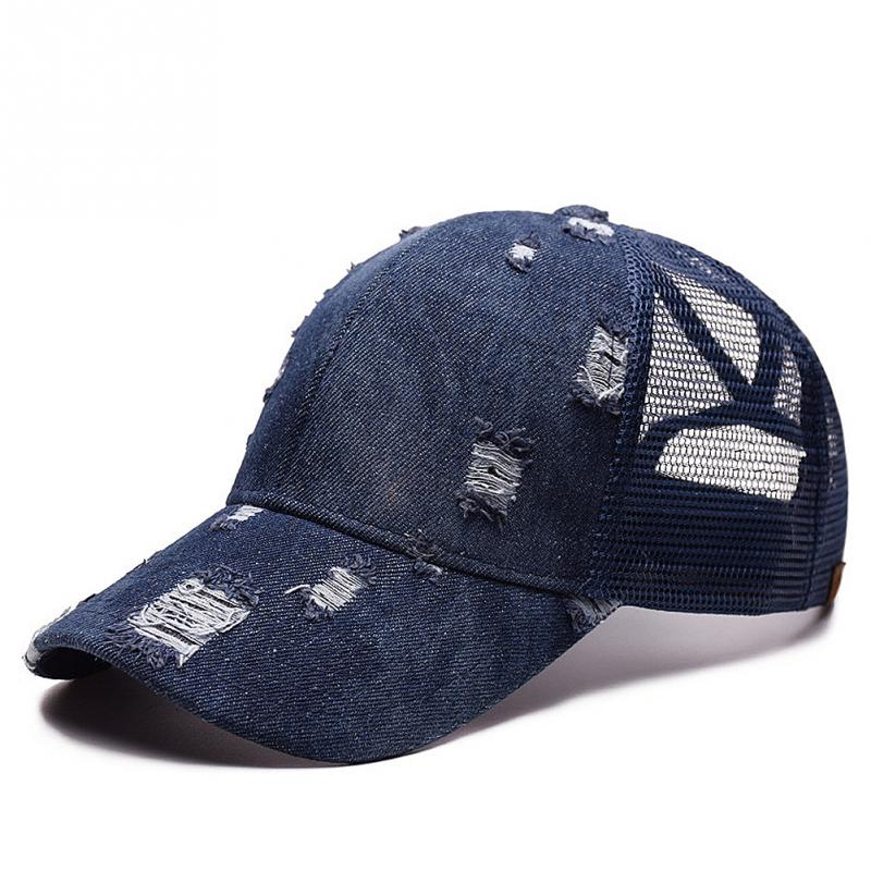 ecb311eafc559 Outdoor Mesh sunshade Denim Baseball Cap Tennis cap Women Messy Bun Baseball  Hat Snapback