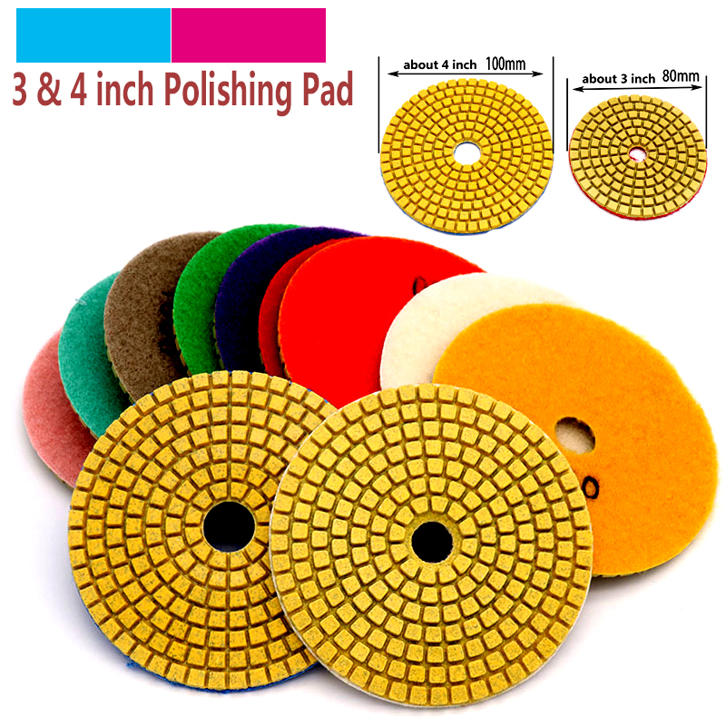 "1pcs 3"" 4"" Wet/Dry Diamond Polishing Pads Sanding Grinding Disc Marble Granite Polisher Flexible Stone Ceramic Tile Hand Tools"
