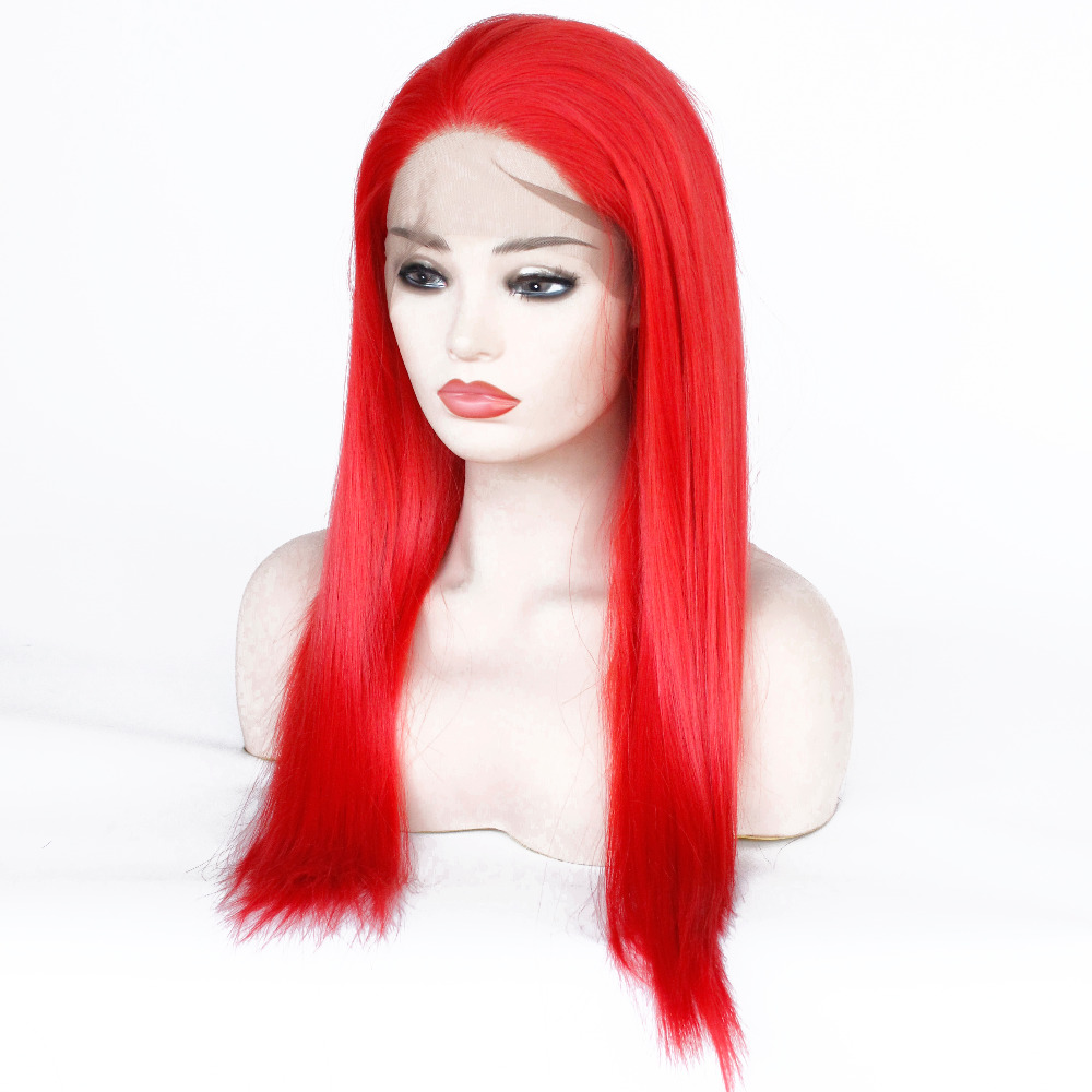 VNICE Straight Glueless Synthetic Lace Front Wig Red Womens Lace Front Natural Wigs Long Heat Resistant Synthetic Hair Wig