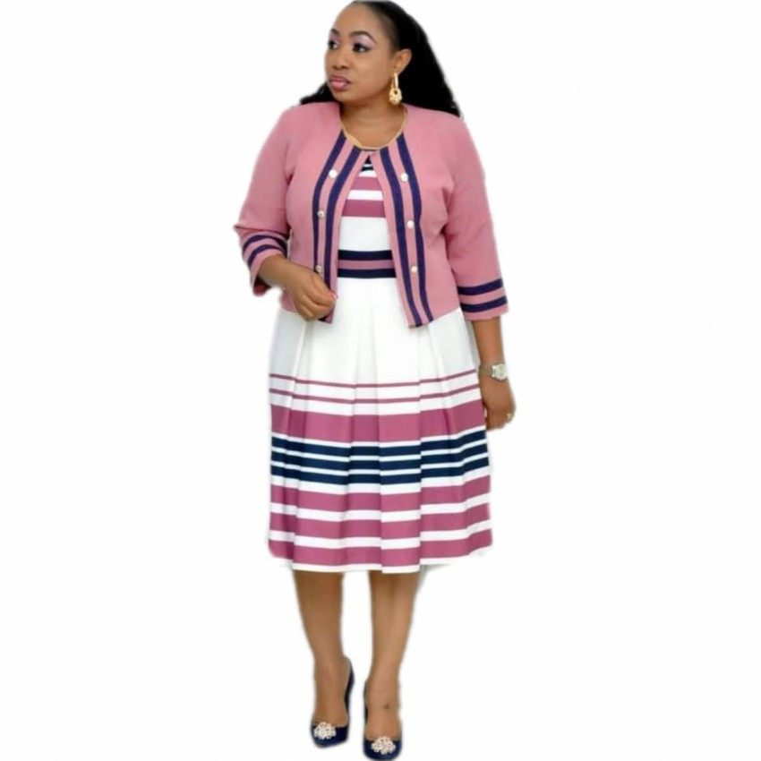 4XL 5XL Plus Size African Dresses For Women 2 Piece Sets Elegent Fashion Style African Women Polyester Knee-length Dress